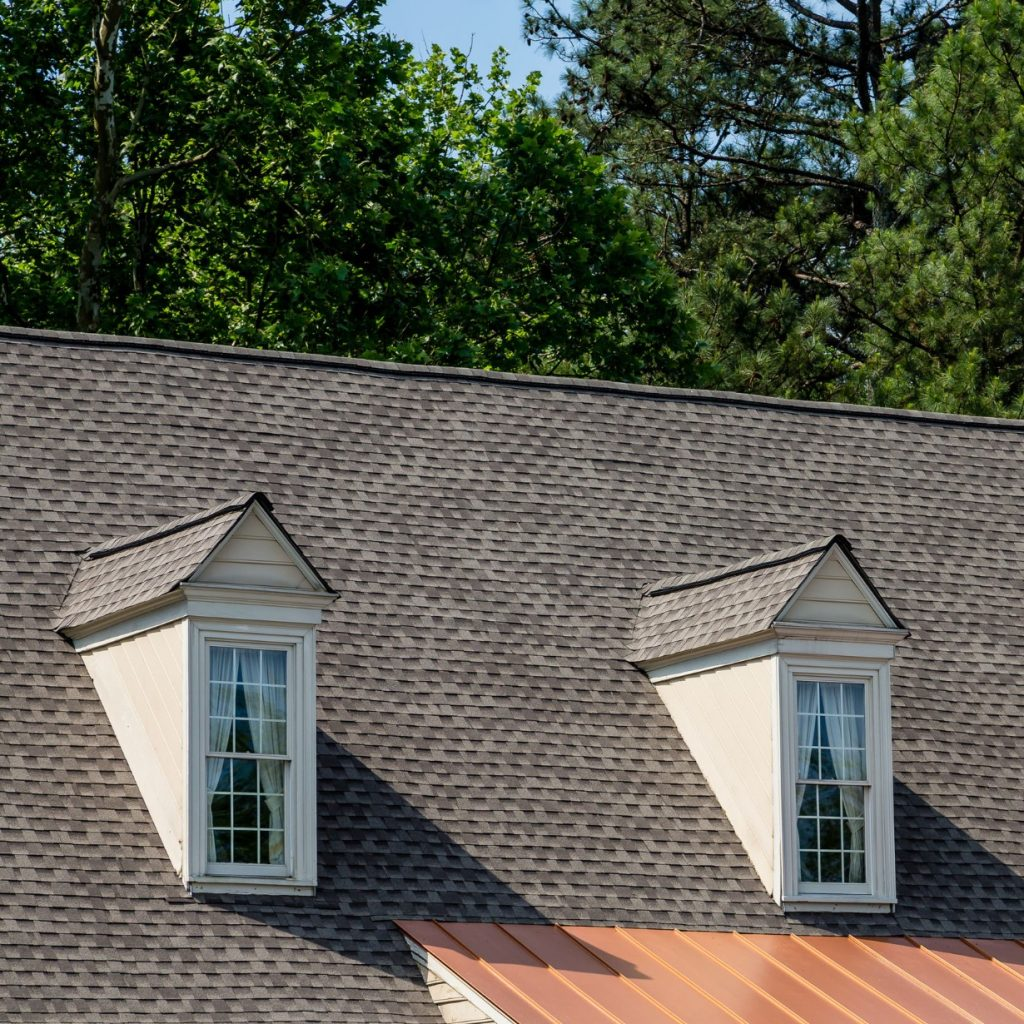 grey shingle roof with windows