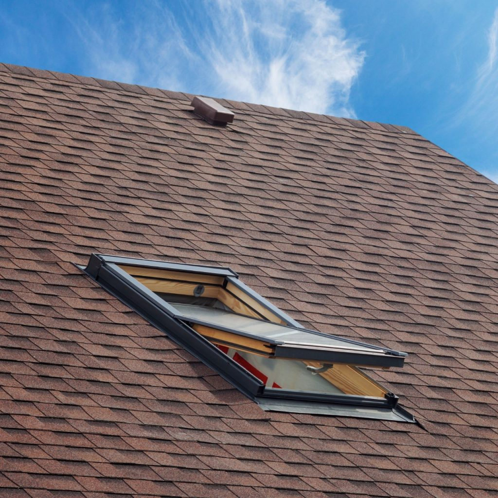 shingle roofing with a skylight