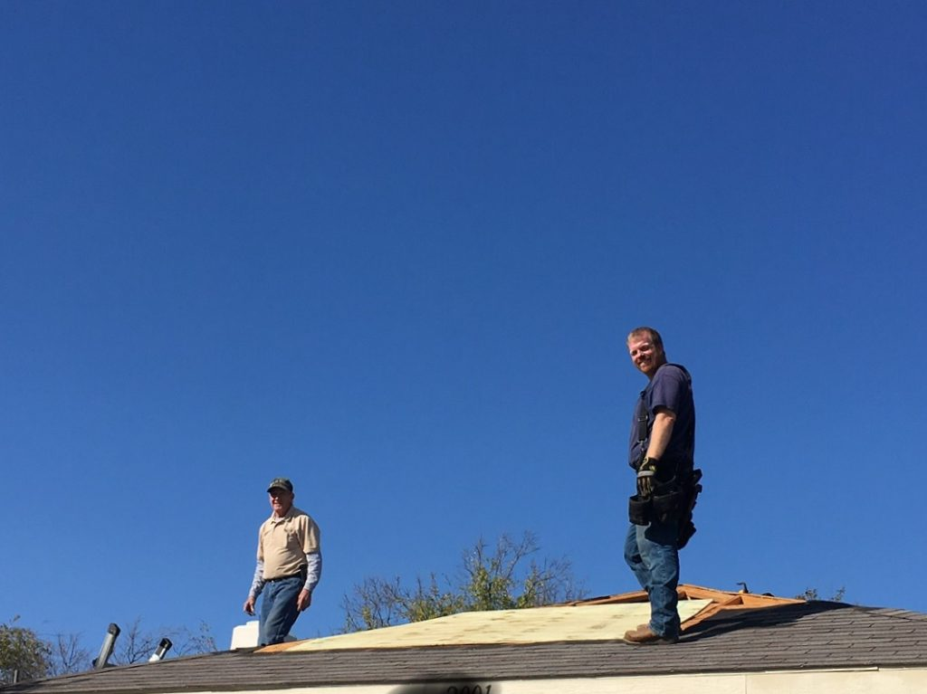residential roofers at work