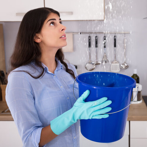 Woman holding a bucket under a roof leak.
