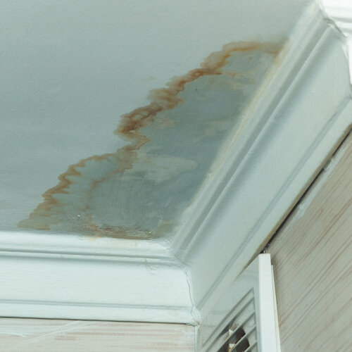 Water-damaged and stained white ceiling.